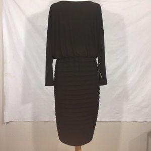 NWT Adrianna Papell Black LBD Midi Dress 14W